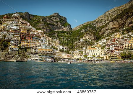 View from the sea on Positano - town of Amalfi Coast Campania Italy