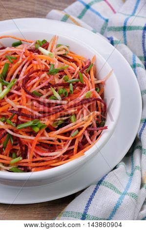 a plate salad of shredded raw beets and carrots on celery root