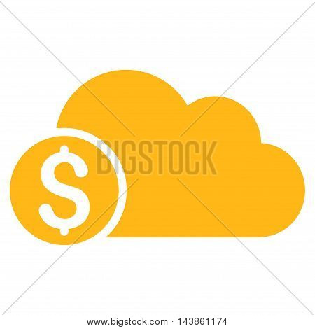 Banking Cloud icon. Vector style is flat iconic symbol with rounded angles, yellow color, white background.
