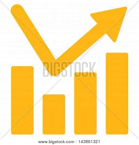 Bar Chart Trend icon. Vector style is flat iconic symbol with rounded angles, yellow color, white background.