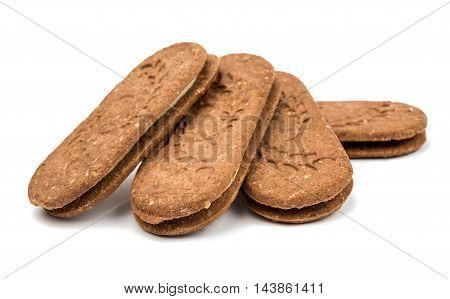 cookie sandwich brown biscuit on white background