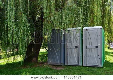 Portable toilets - outdoor portapotty in the park