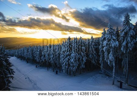 Very dramatic sunset landscape in Harz, Germany
