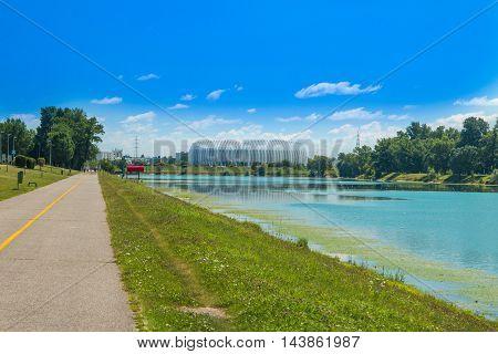 Jarun lake in Zagreb, Croatia, sunny summer day, Zagreb arena in background