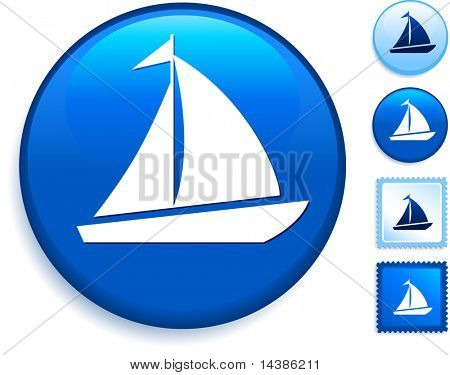 Sailboat Icon on Internet Button Original Vector Illustration