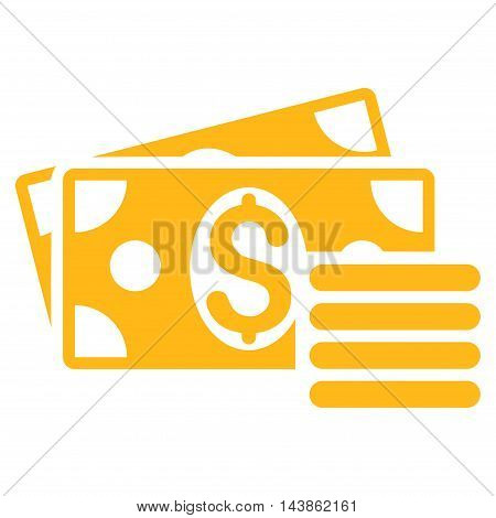 Dollar Cash icon. Vector style is flat iconic symbol with rounded angles, yellow color, white background.