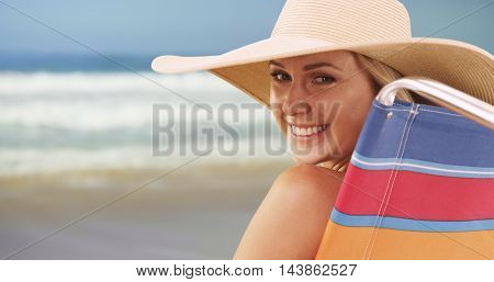 Closeup Of Happy Woman Sitting By The Beach