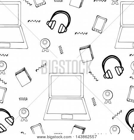 Seamless pattern with hand drawn monitor book mobile and web camera on the white background