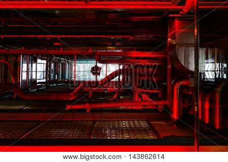 Glowing Red Pipes Brewery Factory Industry Perspective Light