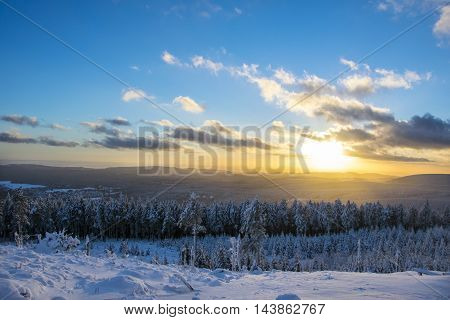 A perfect sunset with perfect weather in the Harz National Park, Germany