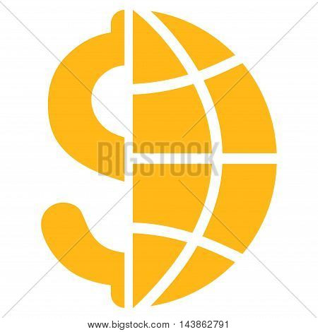 Global Business icon. Vector style is flat iconic symbol with rounded angles, yellow color, white background.
