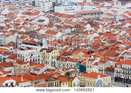 Nazare town top view with red roofs (Portugal).