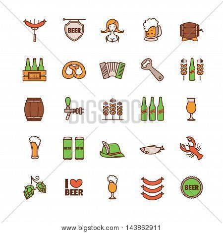 Oktoberfest thin line icons set. Vector illustration for your design