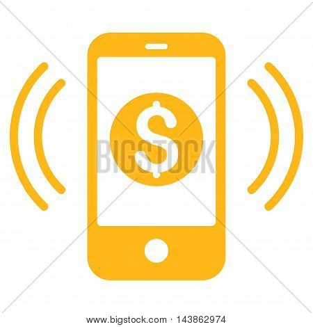 Payment Phone Ring icon. Vector style is flat iconic symbol with rounded angles, yellow color, white background.