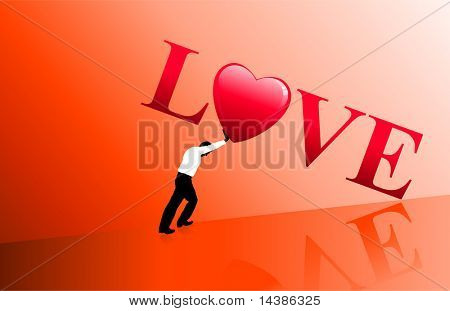 Businessman pushing love Original Vector Illustration