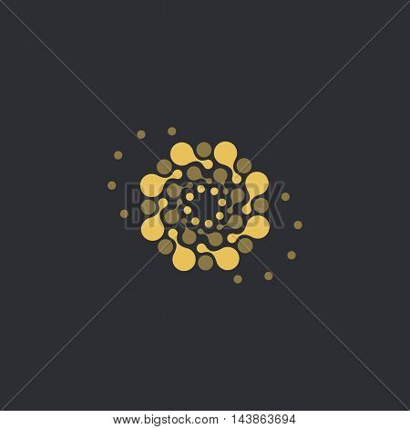 Vector isolated sun logo design template. Abstract dots symbol. Round unusual shape