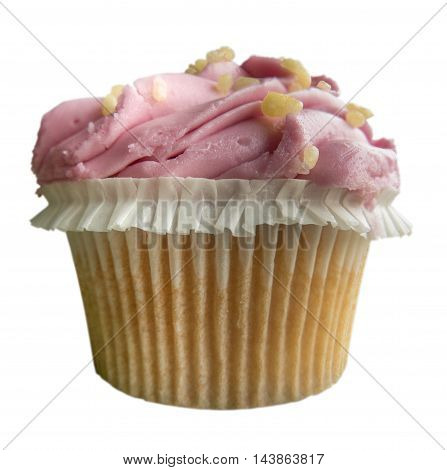Isolated Fresh Frosted Pink Cupcake On A White Background