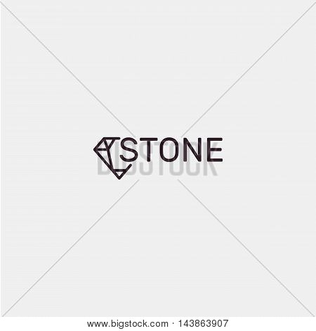 Isolated abstract gemstone black vector logo. Jewel abstract logotype. Faceted precious stone vector illustration