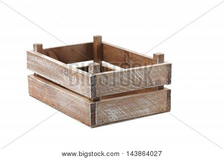 Wooden crate isolated on a white, close up