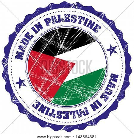 Made in Palestine grunge rubber stamp with flag