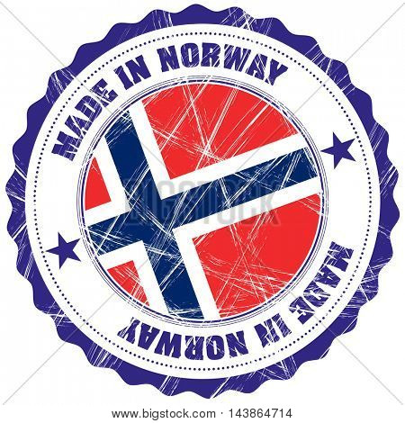 Made in Norway grunge rubber stamp with flag