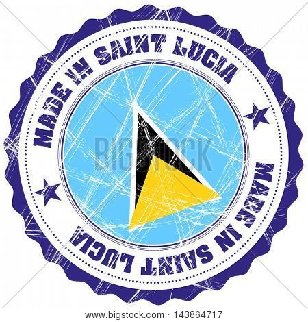 Made in Saint Lucia grunge rubber stamp with flag