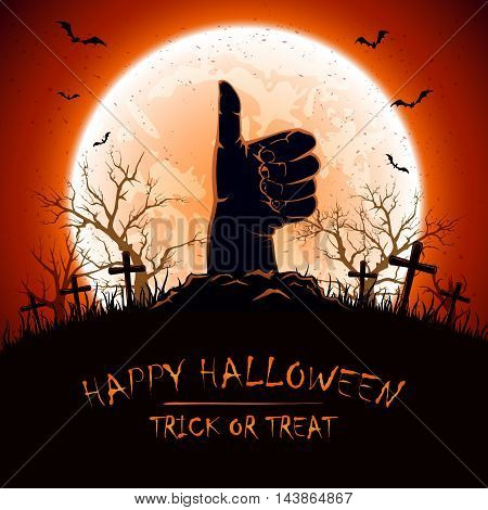 Halloween background with Moon and hand with thumb up on cemetery, illustration.