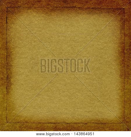 Gold crumpled paper with frame texture background for your message