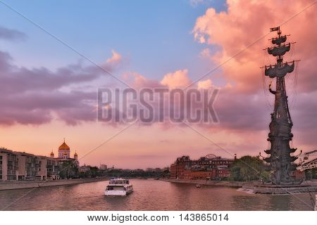 Moscow Russia - 21 August, 2016: Summer cruise tours on the Moscow river. Landmark and sights of the Russian capital.