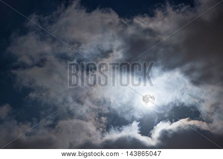 Night sky with Full Moon and clouds. Mysterious night sky with full moon.