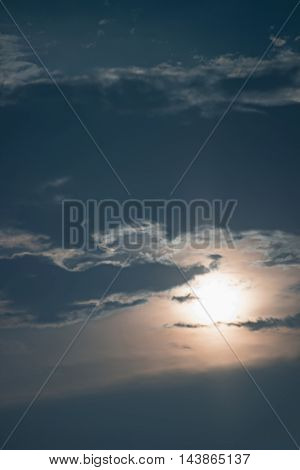 Mysterious night sky with full moon. Night sky with Full Moon and clouds