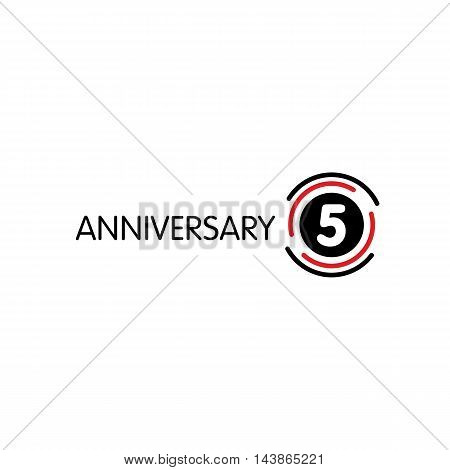 Anniversary vector unusual label. Fifth anniversary symbol. 5 years birthday abstract logo. The arc in a circle. 5th jubilee