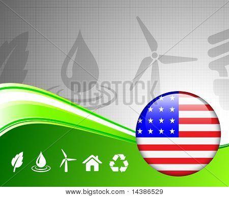 Grüne Umgebung-Konzept mit amerikanischen Internet Button ursprünglichen Vector Illustration