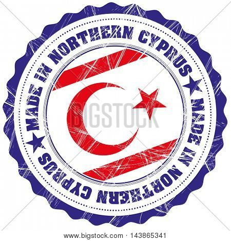 Made in Northern Cyprus grunge rubber stamp with flag