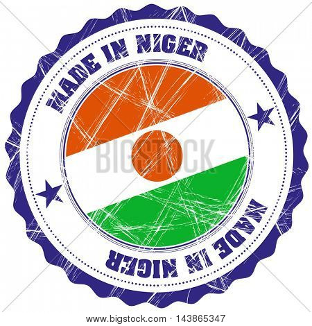 Made in Niger grunge rubber stamp with flag