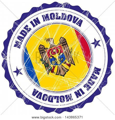 Made in Moldova grunge rubber stamp with flag