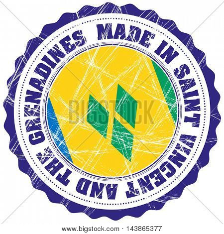 Made in Saint Vincent and the Grenadines grunge rubber stamp with flag