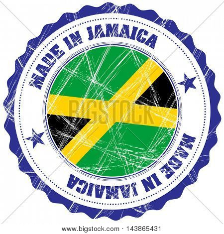Made in Jamaica grunge rubber stamp with flag