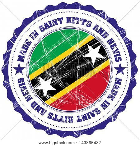 Made in Saint Kitts and Nevis grunge rubber stamp with flag
