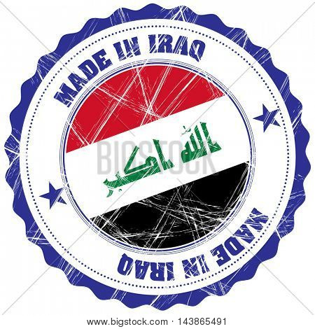 Made in Iraq grunge rubber stamp with flag