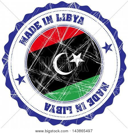 Made in Libya grunge rubber stamp with flag
