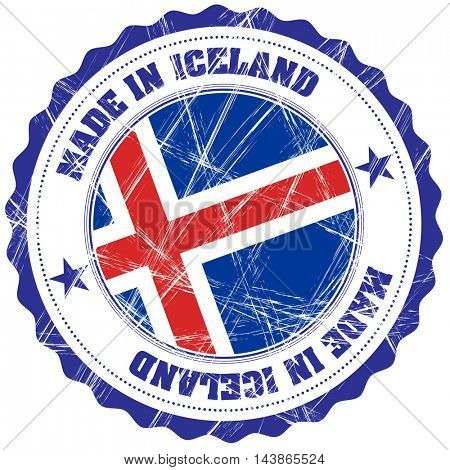 Made in Iceland grunge rubber stamp with flag