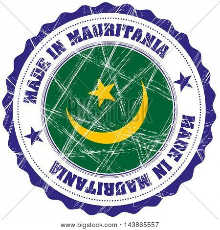 Made in Mauritania grunge rubber stamp with flag