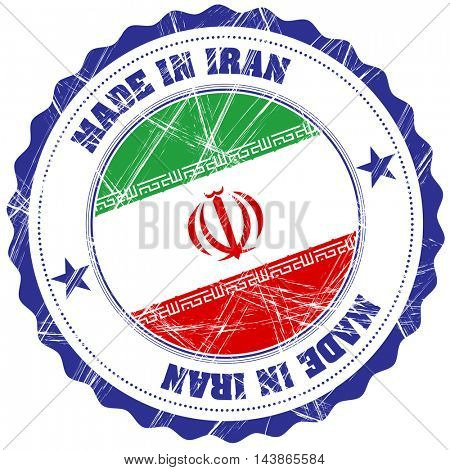 Made in Iran grunge rubber stamp with flag