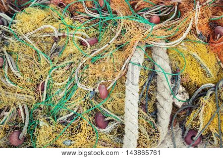 Colorful Fishing Net Drying On Pier In Greece