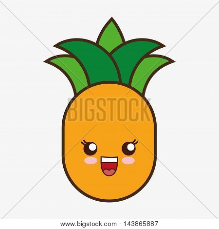 pineaple kawaii cartoon smiling healthy food icon. Colorful and flat design. Vector illustration
