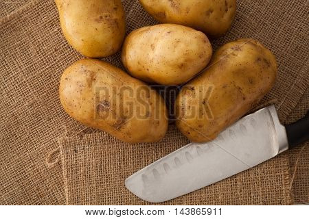 Potato Still Lift On Sack Background