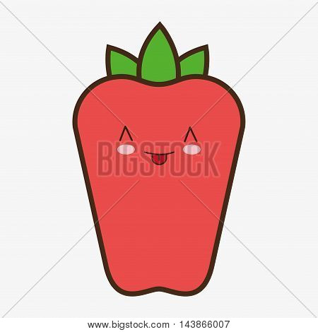pepper kawaii cartoon smiling healthy food icon. Colorful and flat design. Vector illustration