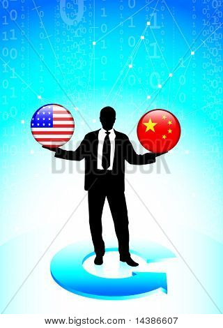 Businessman Holding United States and china  Internet Flag Buttons Original Vector Illustration