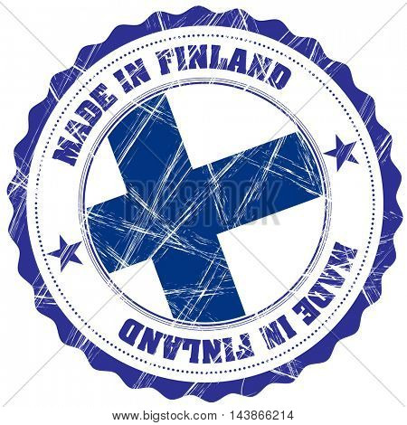 Made in Finland grunge rubber stamp with flag